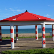 bandstand painted with poppies